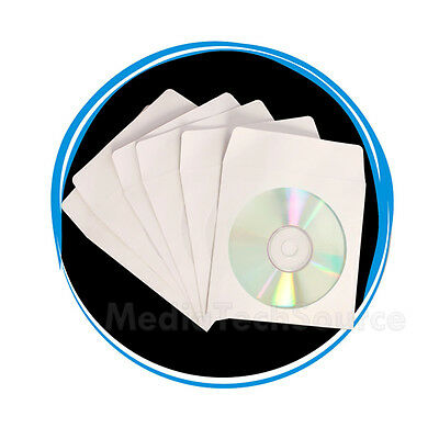 "1000 Wholesale CD DVD R Disc Paper Sleeve Envelope with 4"" Window & Flap"