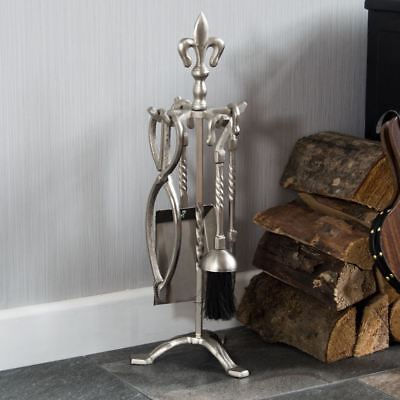5 Piece Fleur De Lys Fire Companion Set Pewter Fireplace Tools By Home Discount