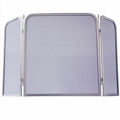 Fire Screen Square Nickel Spark Guard Fireplace Fireside Panel By Home Discount