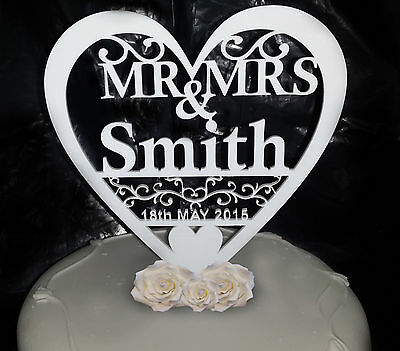 Personalised Wedding Cake Topper Mr & Mrs Keepsake Table Decoration Toppers