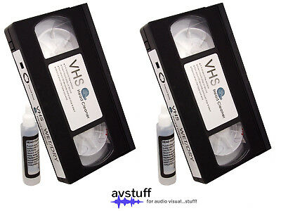 Pack Of 2 Vhs Video Cassettes Recorder Vcr Head Cleaning Cleaner Tape Wet System