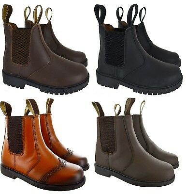 7e7d6abefa0f7 Boys Kids Leather Chelsea Dealer Ankle Boots Pull On Childrens Brown Shoes  Size