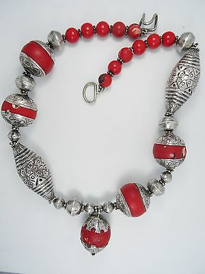 Massive Handmade Tibetan Oxidized Silver Coral Amulet Necklace