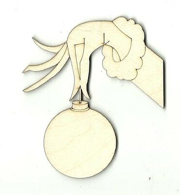 Grinch Hand Ornament  Engraved Unfinished Wood Shape Supply Laser Cut Out XMS36