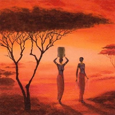 4 x Paper Napkins - African Sunset - Ideal For Decoupage / Decopatch (2089)