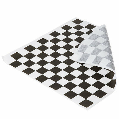 "50 sheets Black and White Checkered Deli Wrap Paper 12""x12""  Wax Paper"