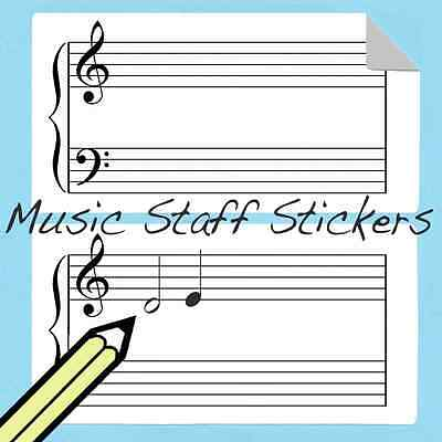 Double Staff Piano Sticker 45 pack. Large 4'' X 2'' Great for music teachers