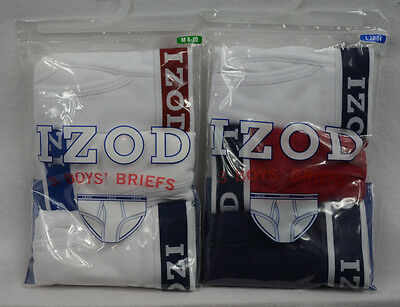 IZOD Boys Briefs 3 Pack Red White Blue or Solid White w/Logo Band S M L XL NWT