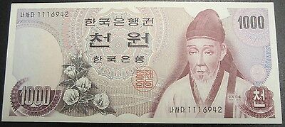 1975 The Bank Of Korea 1000 Won Bank Note  Au/unc