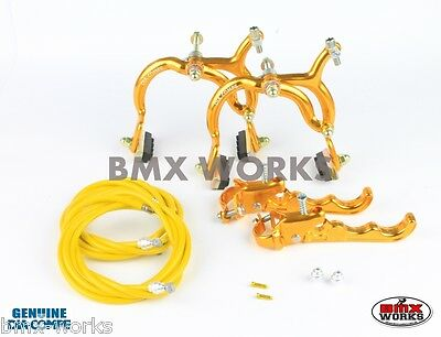 Dia-Compe MX890 - MX120 Gold Brake Set - Old Vintage School BMX Style Brakes