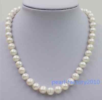 "18"" AAA 10-11 MM SOUTH SEA NATURAL White PEARL NECKLACE 14K GOLD  CLASP"