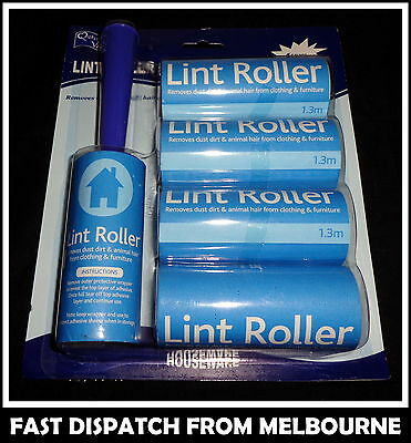 Lint Roller with 5 Adhesive Sticky Refill Rolls 10cm x 1.3M Homeware AUSSIE