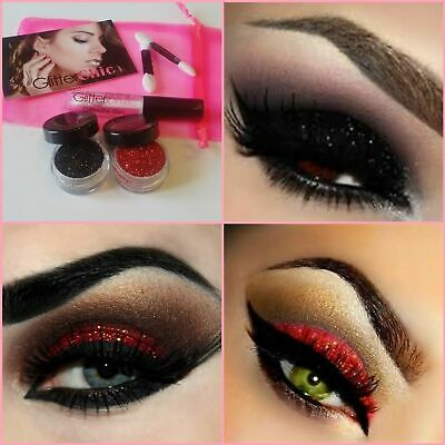 Halloween Glitter Make up Eyes + Lips Kit Red+Black 2 x Stargazer and Adhesive