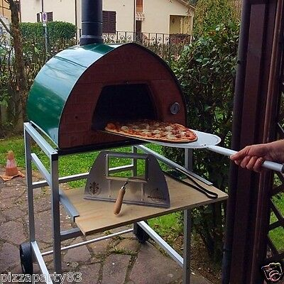 Pizza Party oven GREEN +Support With Wheels + GlassDoor + 2 Pizza Peel spacesave