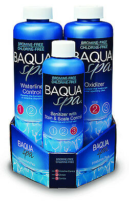 Baqua Spa 3 Part Pack (Full Size Sanitizer, Oxidizer, and Waterline Control)