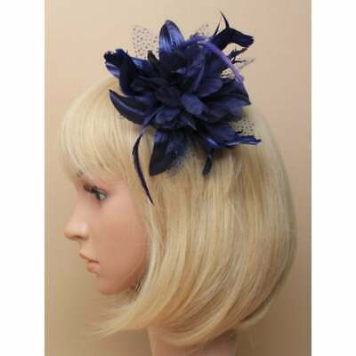 Ladies Navy Blue Chiffon Flower Fascinator with Feather Tendrils