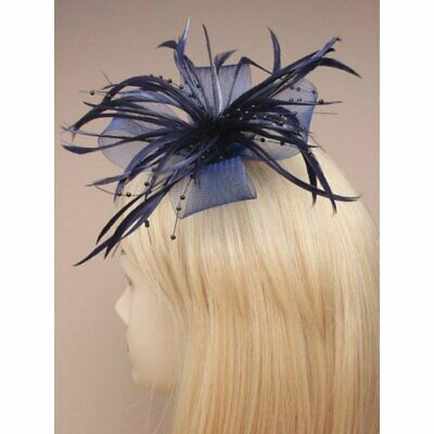 Navy blue fascinator with net loops and feather tendrils (beak clip and pin)