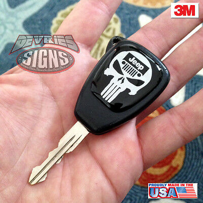 Domed JEEP key fob emblems badge PUNISHER Wrangler JK JKU Rubicon Sahara Sport