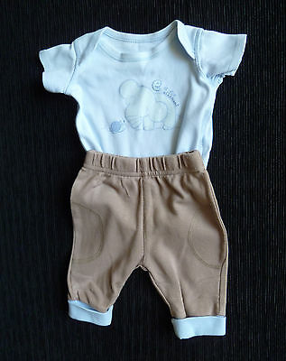 Baby clothes BOY newborn 0-1m outfit brown/blue trousers/blue elephant bodysuit