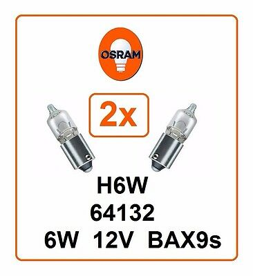 2x H6W OSRAM 6W 12V BAX9s 64132 Parking light Headlight pilot lamp Germany