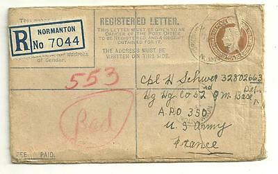 WWII 1944 Registered Letter From Yorkshire England To U.S. Army Cpl in France