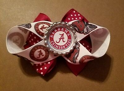 Alabama Crimson Tide Hair Bow With or W/O Headband Baby Toddler NFL*SHIPS FREE