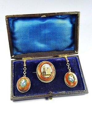 Terrific Antique Italian 9K Gold Aventurine Micromosaic Earrings & Brooch Boxed