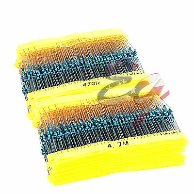 600x 600Pcs 30 Values ¼W Metal Film Resistors Resistance Assortment Kit Set