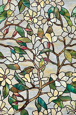 Summer Magnolia Window Film White Floral Deco Artscape 01-0142 24-In by 36-Inch