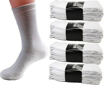 3-12 Pairs Mens White Sports Athletic Crew Socks Hiking Running Size 9-11 10-13