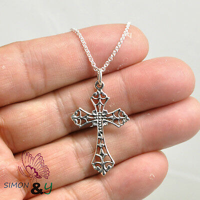 Finejewelers Sterling Silver Antiqued Satin Irish Crucifix Cross Pendant Necklace Chain Included