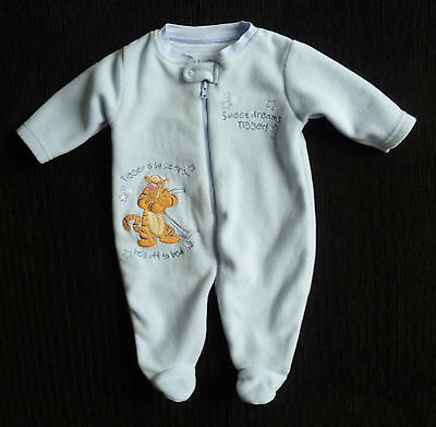 Baby clothes BOY 0-3m Disney Tigger blue fleece zip sleepsuit 2nd item post-free