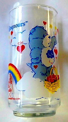 GRUMPY BEAR care bears VINTAGE GLASS AGC Calinours / verre calinours bisounours