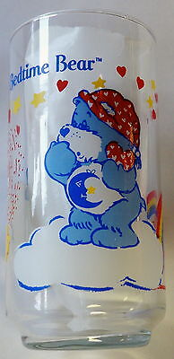 BEDTIME BEAR care bears VINTAGE GLASS AGC Calinours / verre calinours bisounours