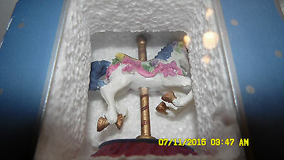Polyresin figurine, Carousel Horse with ceramic trinket box, NEW, NIB, AMES
