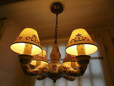 French 4 light chandelier hand painted ceramic charming vintage