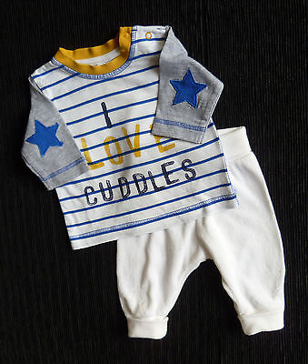 Baby clothes BOY newborn 0-1m outfit H&M cream velour trousers/NEXT top SEE SHOP