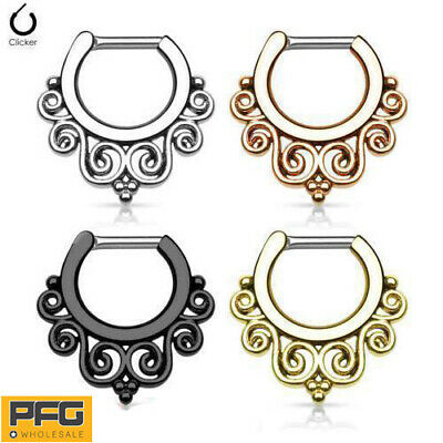 1pc New Surgical Steel Septum 16G Hinged Clicker Daith Nose Ring Body Piercing