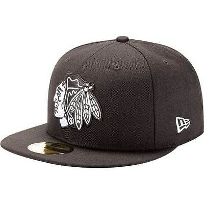 New Era 5950 CHICAGO BLACKHAWKS Black White Cap Hockey League NHL Fitted Hat