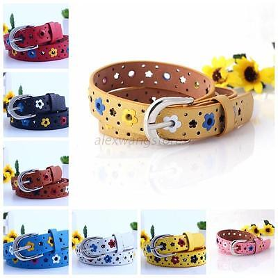 Candy Color Flower Belt Buckle PU Leather Kids Girls Children Toddler Waistband