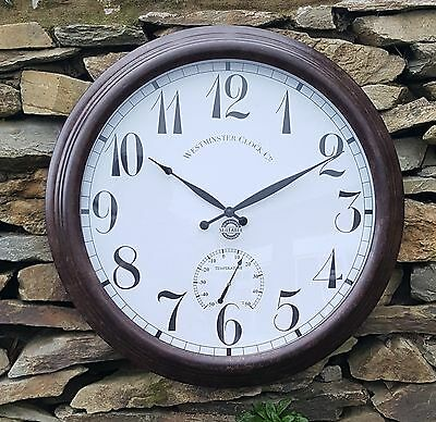 Large Giant Metal Outdoor Garden Wall Clock Thermometer  24inch 61cm Rust colour