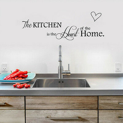 Kitchen Words Wall Stickers Decal Home Decor Vinyl Art Mural DIY Removable Black