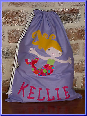 Child's/girls Personalised Name Library Bag /toy Bag - Mermaid -