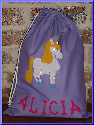 Child's/girls Personalised Name Library Bag /toy Bag  - Unicorn -
