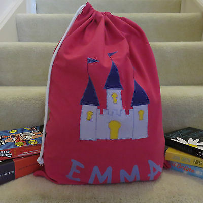 Child's/girls Personalised Name Library Bag /toy Bag - Princess Castle -