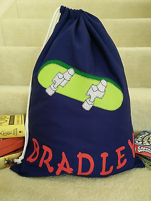 Child's/boys Personalised Name Library Bag /toy Bag - Skateboard -