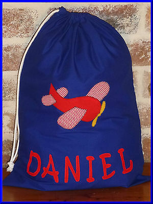 Child's/boys Personalised Name Library Bag /toy Bag - Plane -
