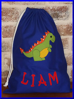 Child's/boys Personalised Name Library Bag /toy Bag - Dinosaur  -