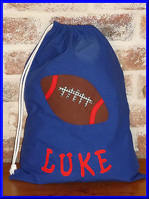Child's/boys Personalised Name Library Bag /toy Bag - Football -