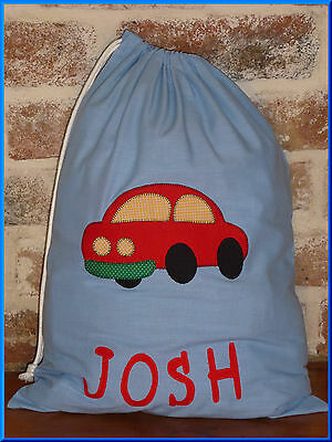 Child's/boys Personalised Name Library Bag /toy Bag - Car -